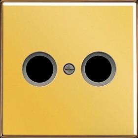 Jung LS 990 TV GGO Abdeckung f. 2-Loch SAT-TV-Dose vergoldet