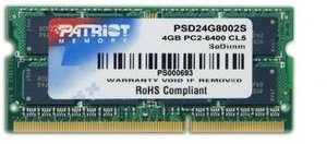Patriot SO-DIMM 4GB PC2-6400S CL5 (DDR2-800) (PSD24G8002S)