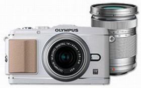 Olympus PEN E-P3 weiß mit Objektiv M.Zuiko digital 14-42mm II und M.Zuiko digital ED 40-150mm (V204032WE000)