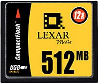 Lexar CompactFlash Card (CF) HighSpeed 12x 512MB (CF512-12)