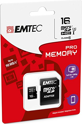 Emtec Pro R90/W80 microSDHC 16GB Kit, UHS-I U3, Class 10 (ECMSDM16GHC10PR) -- via Amazon Partnerprogramm
