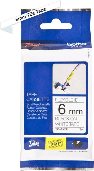Brother TZ-FX211/TZe-FX211 6mm schwarz/weiß