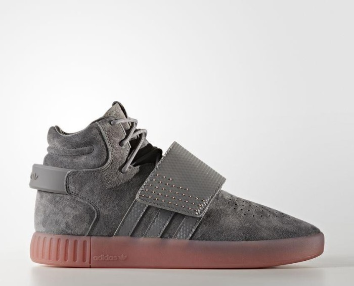 new styles 5e22e 8667b adidas tubular Invader strap grey four raw pink (BY3634) starting ...