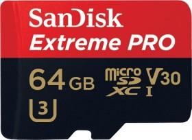 SanDisk Extreme PRO R95/W90 microSDXC 64GB Kit, UHS-I U3, Class 10 (SDSQXXG-064G-GN6MA)