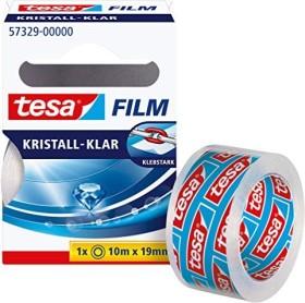 tesa tesafilm Kristall-Klar 57329 Klebeband transparent Faltschachtel, 19mm/10m, 1 Stück (57329-00000)