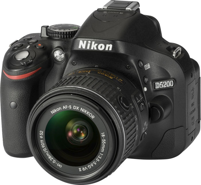 Nikon D5200 (SLR) black with lens AF-S DX 18-55mm 3.5-5.6G ED II (VBA350K002)