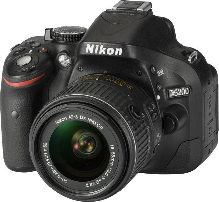 Nikon D5200 schwarz mit Objektiv AF-S DX 18-55mm 3.5-5.6G ED II (VBA350K002)