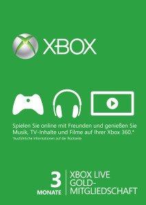 Microsoft Xbox Live Gold Subscription Card - 3 Monats Abo (Download) (Xbox One/Xbox 360) (S2T-00009)