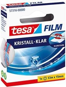 tesa tesafilm Kristall-Klar 57316 Klebeband transparent Faltschachtel, 15mm/33m, 1 Stück (57316-00000)