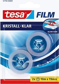 tesa tesafilm Kristall-Klar 57759 Klebeband transparent Blister, 19mm/10m, 2 Stück (57759-00001)