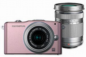 Olympus PEN E-PM1 (EVIL) pink with lens M.Zuiko digital 14-42mm II and M.Zuiko digital ED 40-150mm (V20601CPE000)