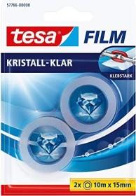 tesa tesafilm Kristall-Klar 57766 Klebeband transparent Blister, 15mm/10m, 2 Stück (57766-00000)