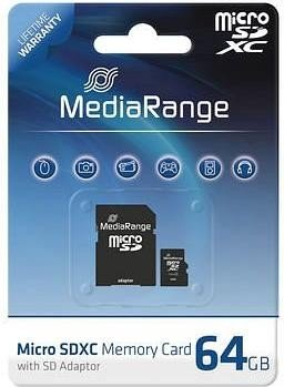 MediaRange R10 microSDXC 64GB Kit, Class 10 (MR955)