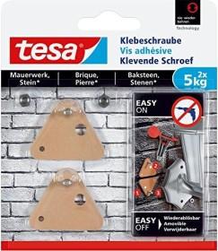 tesa Klebeschraube dreieckig braun für Mauerwerk und Stein, 5.00kg Tragkraft, 2 Stück (77904-00000)