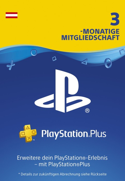 sony playstation plus subscription card 90 tage abo f r sterreichische accounts ps4 ps3. Black Bedroom Furniture Sets. Home Design Ideas