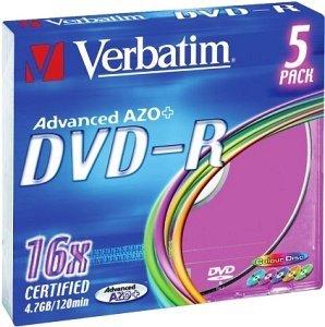 Verbatim DVD-R 4.7GB 16x, 5er Colour Slimcase (43557)