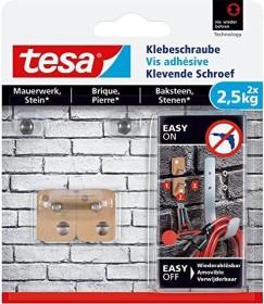 tesa Klebeschraube rechteckig braun für Mauerwerk und Stein, 2.50kg Tragkraft, 2 Stück (77902-00000)