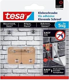 tesa Klebeschraube rechteckig braun für Mauerwerk und Stein, 5.00kg Tragkraft, 2 Stück (77905-00000)