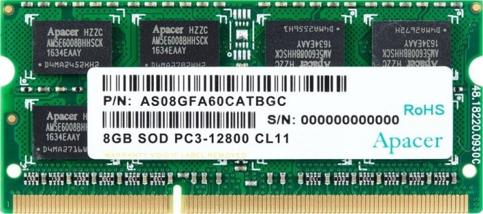 Apacer SO-DIMM 8GB, DDR3-1600, CL11 (AS08GFA60CATBGC)