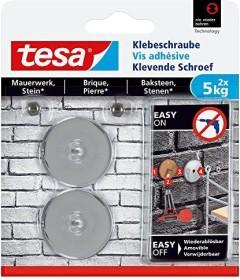 tesa Klebeschraube rund silber für Mauerwerk und Stein, 5.00kg Tragkraft, 2 Stück (77906-00000)