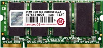 Transcend SO-DIMM 1GB, DDR-333, CL2.5 (TS128MSD64V3A)