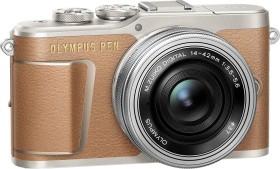 Olympus PEN E-PL9 braun mit Objektiv M.Zuiko digital 14-42mm EZ (V205092NE000)
