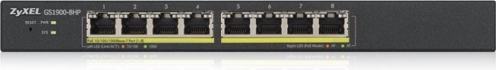 ZyXEL GS1900 Desktop Gigabit Smart Switch, 8x RJ-45, PoE+, Rev.2 (GS1900-8HP-EU0102F/GS1900-8HP-GB0102F)