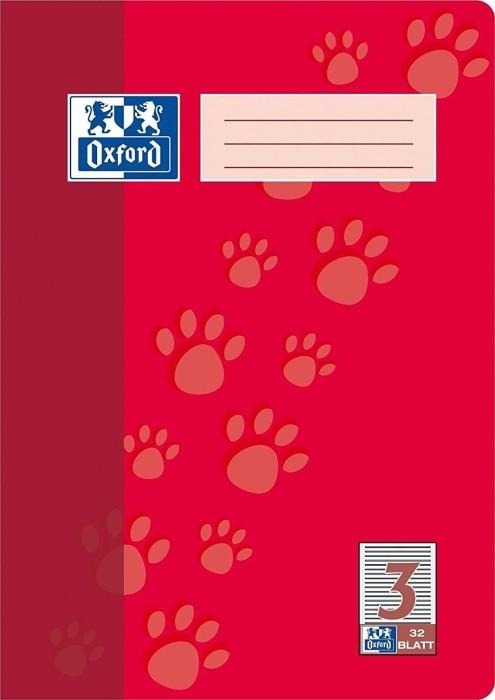 Oxford Schulheft rot A4 Lineatur 3 mit Rahmen, 32 Blatt (100050324)