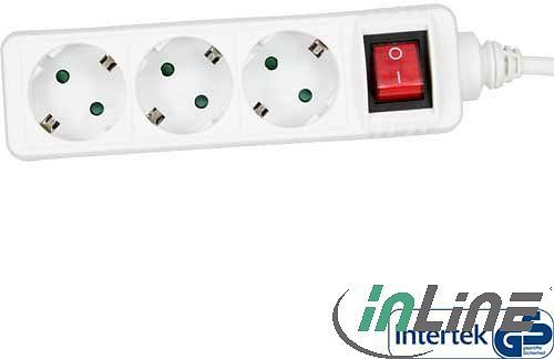 InLine power strip 3-way with child safety lock and Switches, 1.5m, white (16431T)