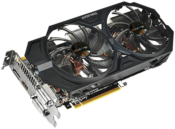 Gigabyte GeForce GTX 760 Windforce 2X OC, 2GB GDDR5, 2x DVI, HDMI, DisplayPort (GV-N760WF2OC-2GD)