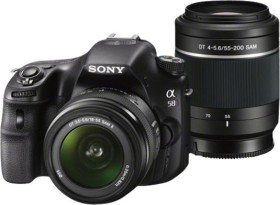 Sony Alpha 58 schwarz mit Objektiv AF 18-55mm DT und 55-200mm DTM (SLT-A58Y)
