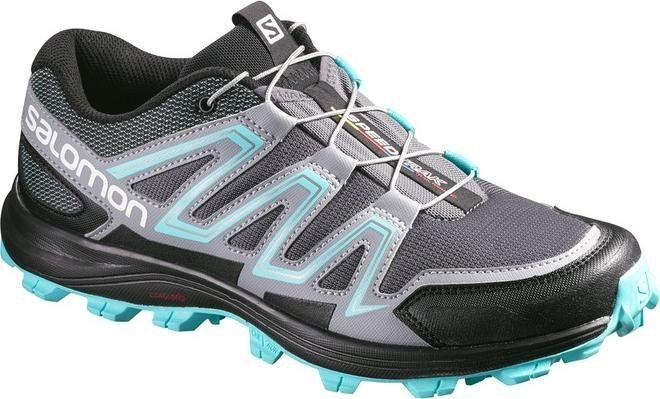 Salomon Damen L39063000 Traillaufschuhe, Grau (Dark Cloud/Light Onix/Bubble Blue Dark Cloud/Light Onix/Bubble Blue), 41 1/3 EU