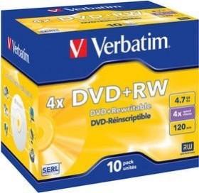 Verbatim DVD+RW 4.7GB 4x, 10-pack Jewelcase (43246)
