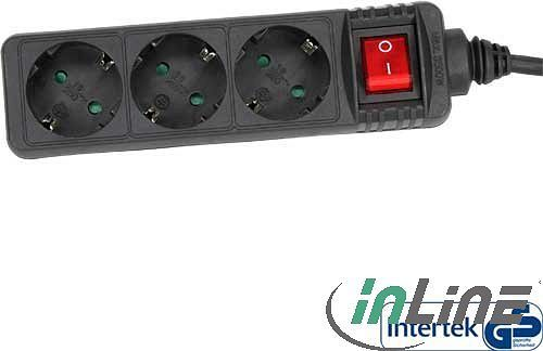 InLine power strip 3-way with child safety lock and Switches, 1.5m, black (16431S)