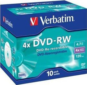 Verbatim DVD-RW 4.7GB 4x, Jewelcase 10 sztuk (43486)