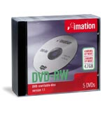 Imation DVD-RW 4.7GB, 5-pack