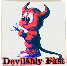 Case Badge/Label Sticker Devilishly almost (white or black)