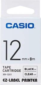 Casio XR-12X1 label-making tape 12mm, black/transparent