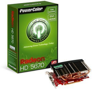 PowerColor Radeon HD 5670 Go! Green, 1GB GDDR5, VGA, DVI, HDMI (AX5670 1GBD5-NS3H/R83FM-TI3P)