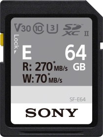 Sony SF-E Series R270/W70 SDXC 64GB, UHS-II U3, Class 10 (SF-E64)