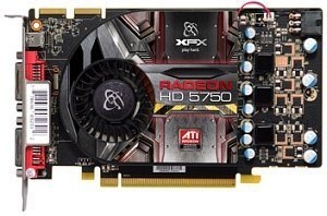 XFX Radeon HD 5750 700M Single Slot, 1GB GDDR5, 2x DVI, Mini DisplayPort (HD-575X-ZMF3)