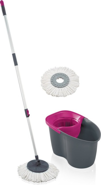 Leifheit Rotation Disc Mop Grey Pink Wischmop Set 55267