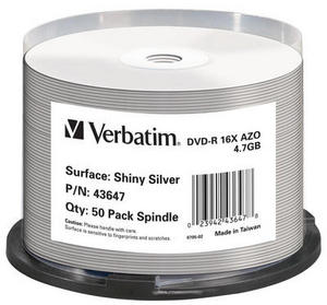Verbatim DVD-R 4.7GB 16x, 50-pack Spindle Shiny Silver (43647)