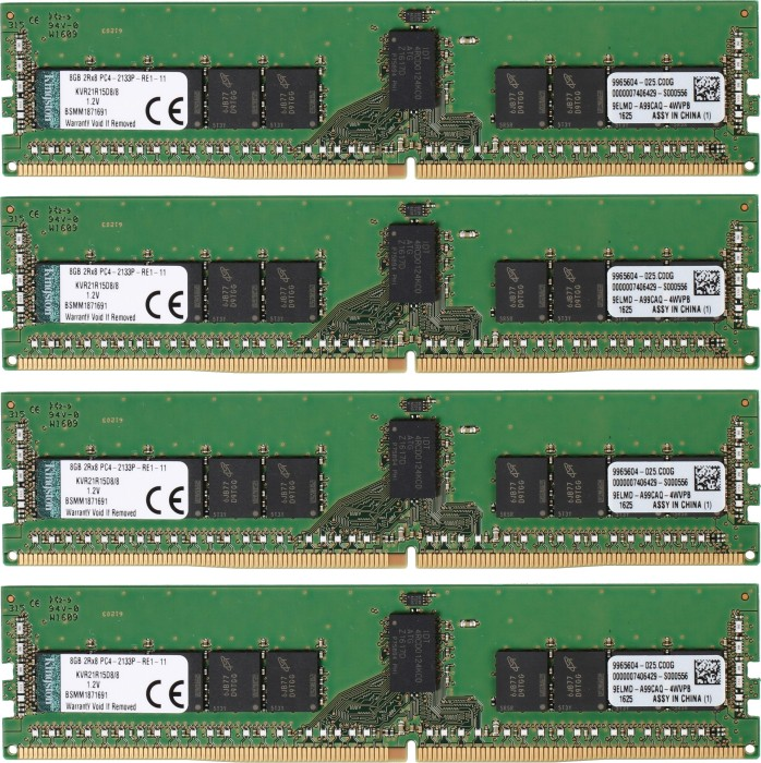 Kingston ValueRAM DIMM kit 32GB, DDR4-2133, CL15-15-15, reg ECC (KVR21R15D8K4/32)