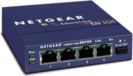 Netgear EN104 Hub, 4x RJ-45, 1x BNC 10Mbit