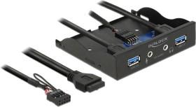 "DeLOCK USB 3.0 2-port + HD-audio front panel, 3.5"" multifunctional frontpanel (62700)"