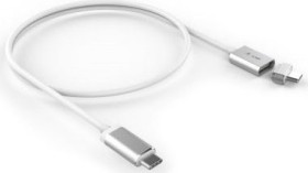 LMP 17463<br>LMP USB-C to USB-C magnetic Safety charging cable for USB-C power supply, 3m - white/aluminum<br>The USB-C to USB-C charging cable loads the new MacBook or MacBook Pro with the USB-C power supply with up to 100 Watt (max. 20V/3.0-5.0A). The geniale an this cable is the magnetic connection between cable and USB-C Konnektor, ähnlich how the older MagSafe Power Supplies of Apple. Falls so mal jeman...