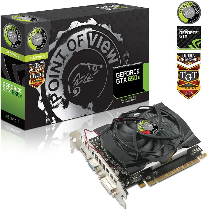 Point of View GeForce GTX 650 Ti TGT Ultra Charged LLS, 1GB GDDR5, VGA, DVI, HDMI (TGT-650TI-A1-1-UC)