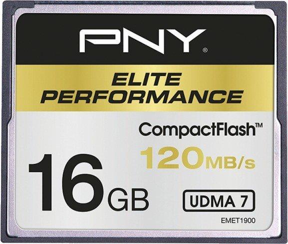 PNY R120/W85 CompactFlash Card [CF] Elite Performance 16GB (CF16GELIPER120-EF)