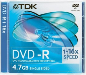 TDK DVD-R 4.7GB 16x, 1er Jewelcase